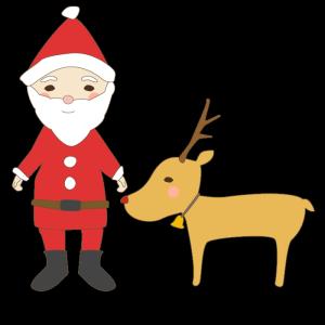 サンタクロースとトナカイのかわいいイラスト