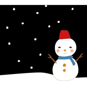雪と雪だるまのかわいいイラスト
