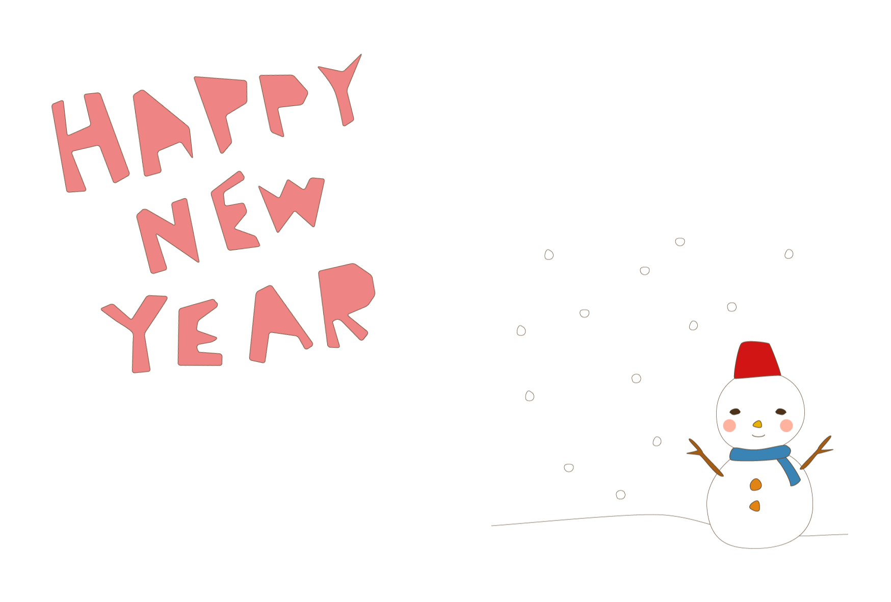 年賀状-かわいいテンプレート(雪と雪だるま) <無料> | イラストk