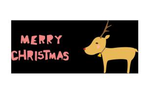 クリスマスカード-かわいいテンプレート(トナカイ)
