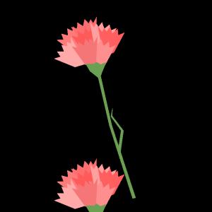 カーネーション(ピンク)のシンプルイラストト