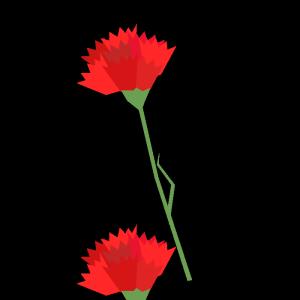 カーネーション (赤)のシンプルイラスト