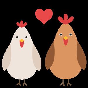 鶏(カップル)のデザインイラスト