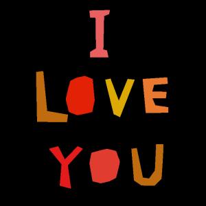 I LOVE YOUのデザイン文字イラスト