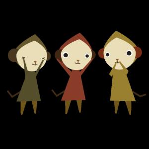 猿(見ざる聞かざる言わざる)のデザインイラスト