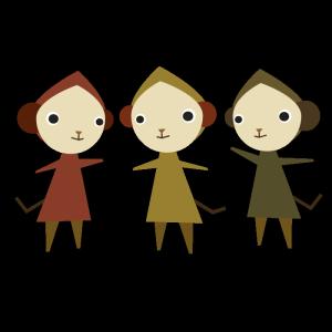 猿3匹のデザインイラスト