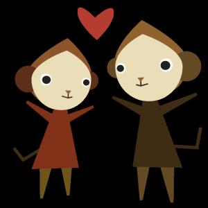 猿(カップル)のデザインイラスト