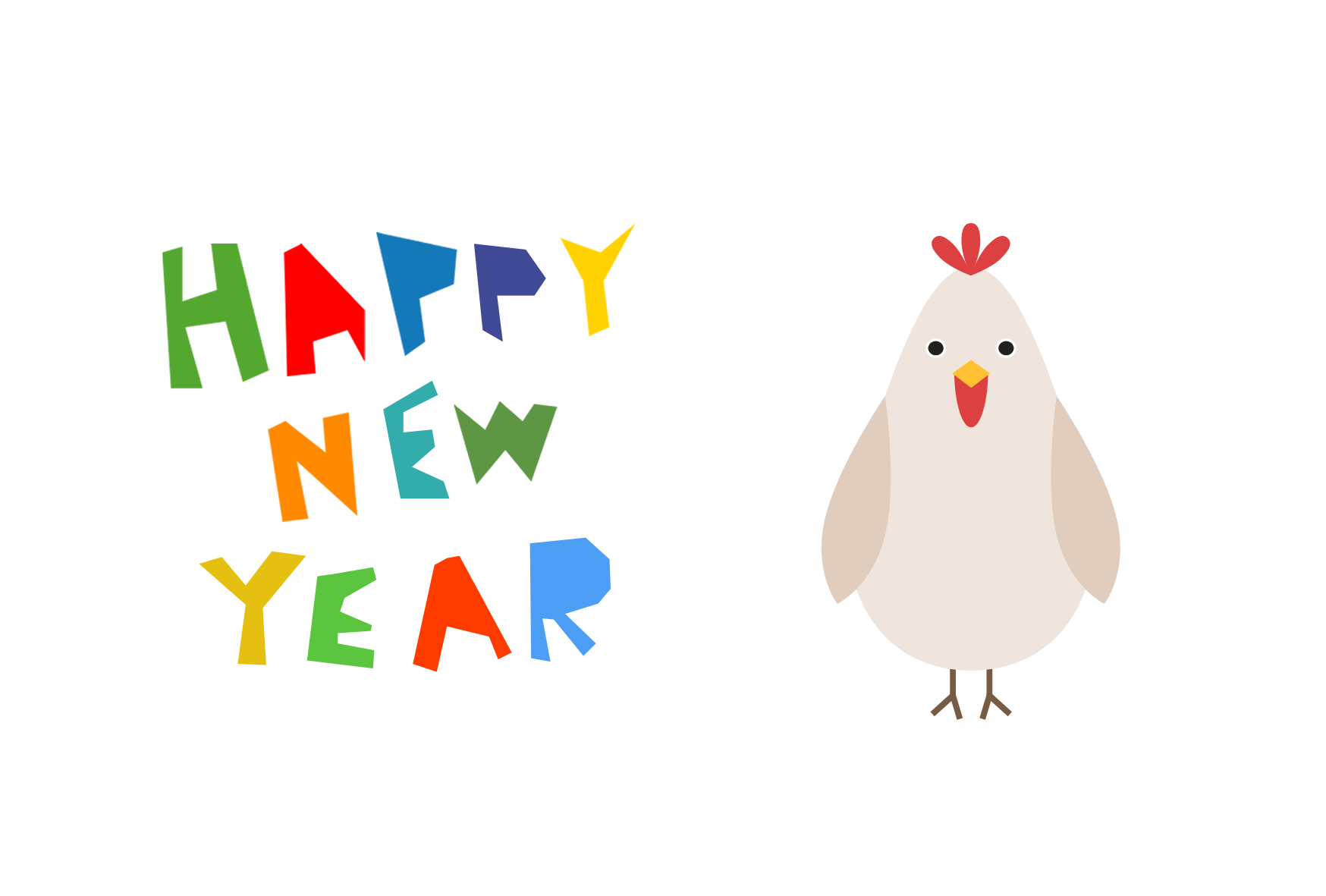 年賀状-2017年-デザインテンプレート(鶏) <無料> | イラストk