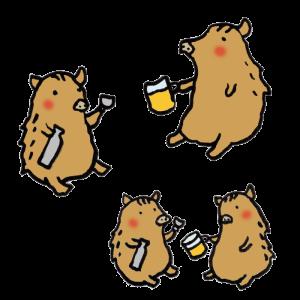 猪(飲み会)の手書きイラスト