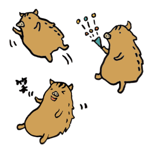 猪(喜び)の手書きイラスト