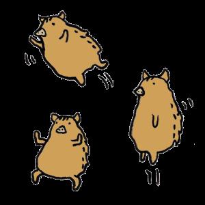 猪(動き)の手書きイラスト
