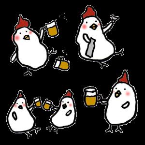 鶏(飲み会)の手書きイラスト