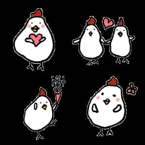 鶏(恋愛・結婚)の手書きイラスト