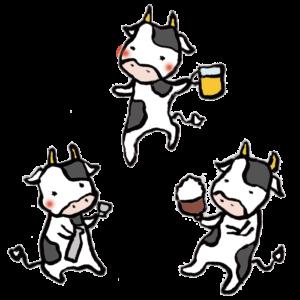 牛(飲み会)の手書きイラスト