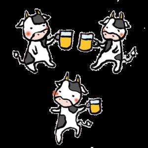 牛(飲み会)の手書きイラスト02