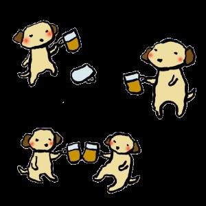 犬(飲み会)の手書きイラスト