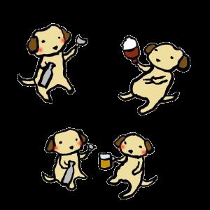 犬(飲み会)の手書きイラスト02