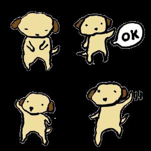 犬(あいさつ)の手書きイラスト