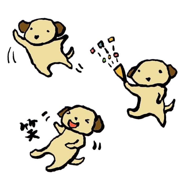 犬喜びの手書きイラスト 無料 イラストk
