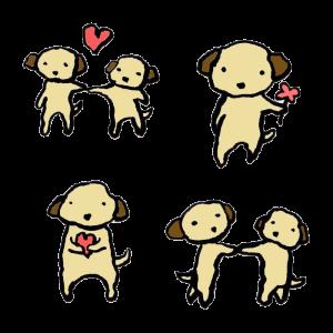 犬(恋愛・結婚)の手書きイラスト
