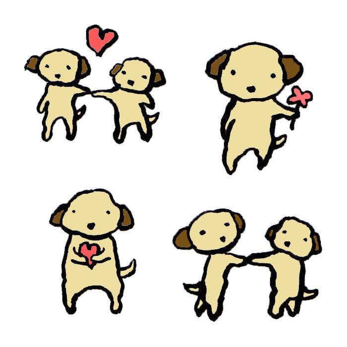 犬恋愛結婚の手書きイラスト 無料 イラストk