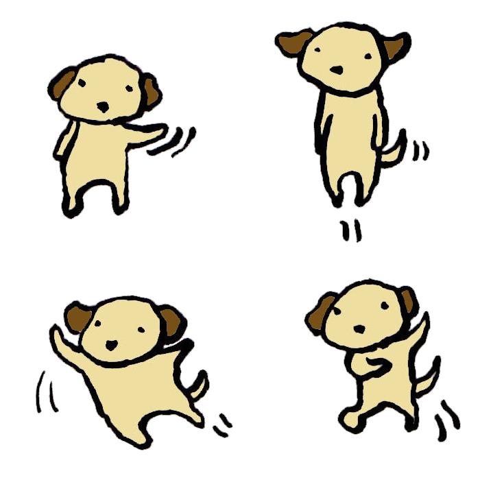 犬動きの手書きイラスト 無料 イラストk
