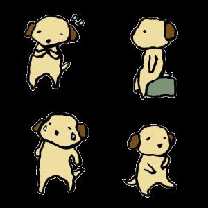 犬(悲しみ)の手書きイラスト