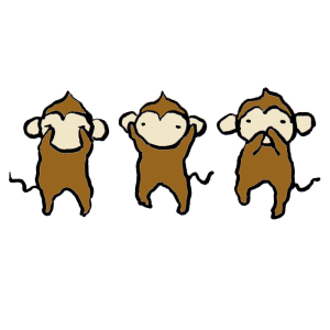 猿(見ざる聞かざる言わざる)の手書きイラスト