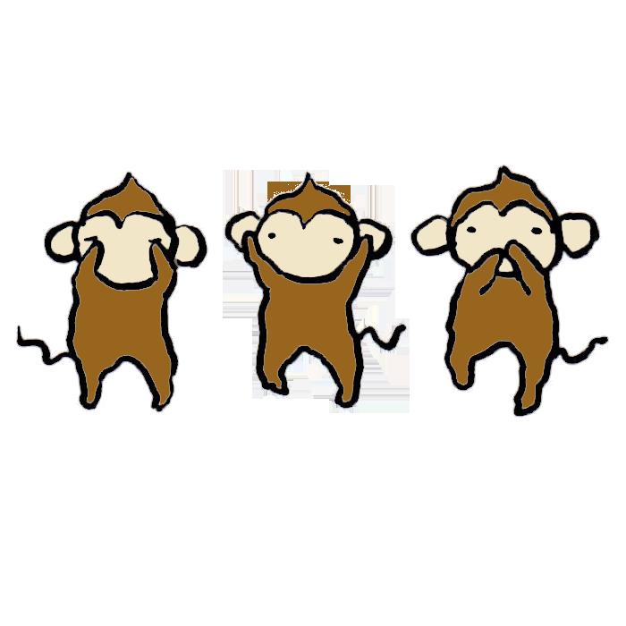 猿 見ざる聞かざる言わざる の手書きイラスト 無料 かわいいフリー素材 イラストk