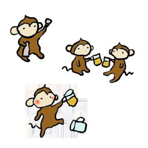 猿(飲み会)の手書きイラスト
