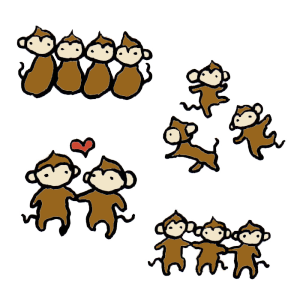 猿(友達)の手書きイラスト