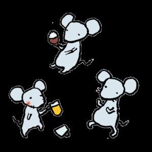 ねずみ(飲み会)の手書きイラスト02