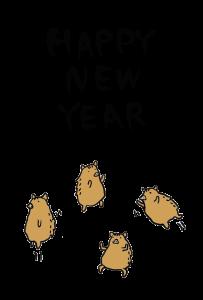 年賀状-2019年-手書きテンプレート(猪)