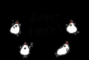 年賀状-2017年-手書きテンプレート(鶏)-和風