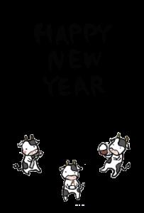 年賀状-2021年-手書きテンプレート(牛)