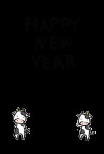 年賀状-2021年-手書きテンプレート(牛)03