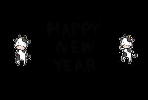 年賀状-2021年-手書きテンプレート(牛) 03 横