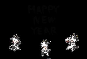 年賀状-2021年-手書きテンプレート(牛) 横