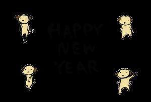年賀状-2018年-手書きテンプレート(犬)