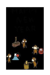 年賀状-2016年-手書きテンプレート(猿)