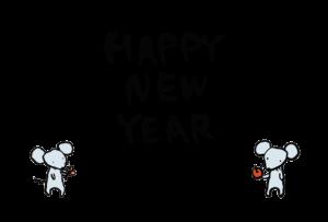 年賀状-2020年-手書きテンプレート(ねずみ)02 横