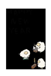 年賀状-手書きテンプレート(羊)<無料>