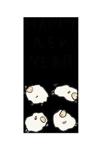 年賀状-手書きテンプレート(羊)<無料>02