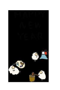 年賀状-手書きテンプレート(羊)<無料>03