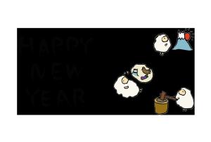 年賀状-手書きテンプレート(羊)03