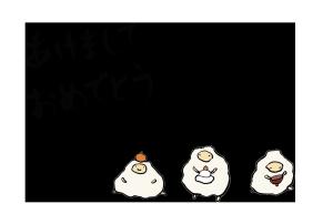 年賀状-手書きテンプレート(羊)-和風05