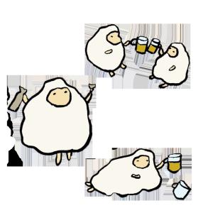 羊(飲み会)の手書きイラスト