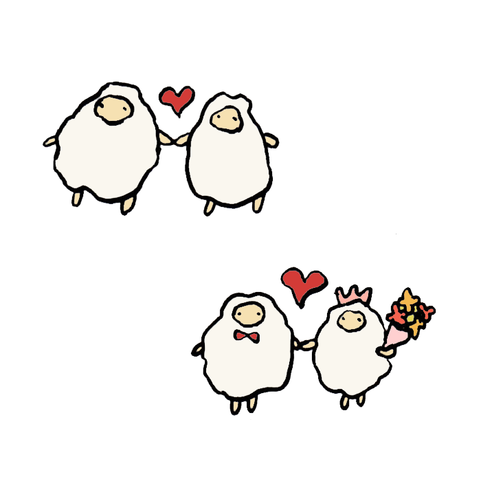羊 恋愛 結婚 の手書きイラスト 無料 かわいいフリー素材 イラストk