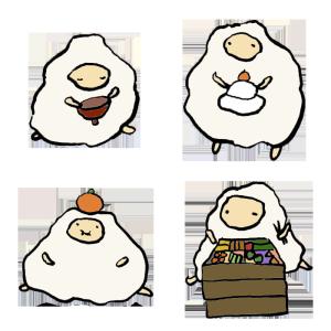 羊(お正月の食べ物)の手書きイラスト