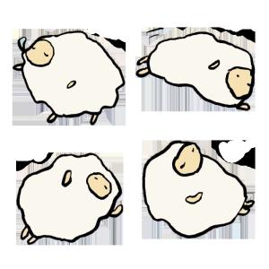 羊(睡眠)の手書きイラスト